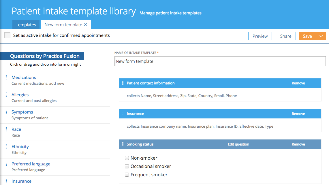 Practice Fusion allows patients to fill customizable intake forms electronically