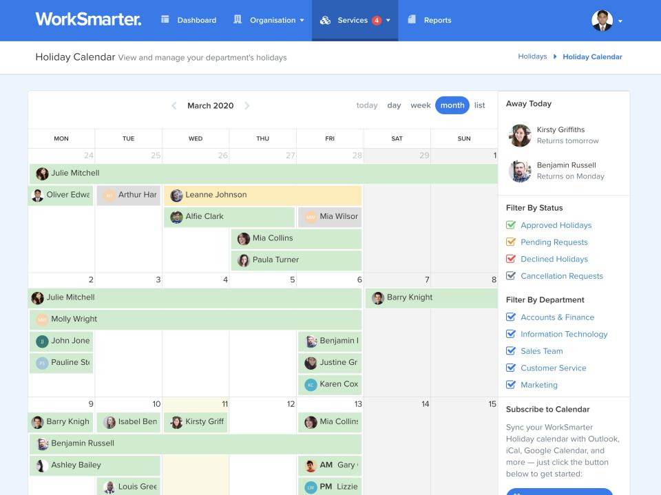 WorkSmarter screenshot: WorkSmarter holiday calendar