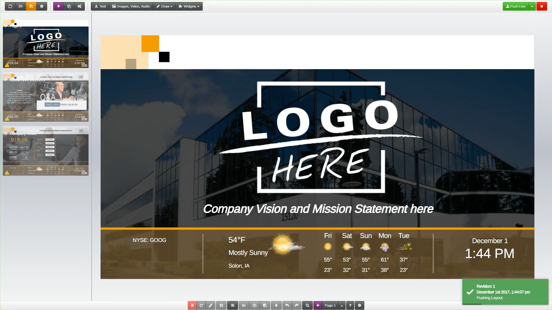 Presentations can be edited using the WYSIWYG editor and drag & drop interface which allows users to add images, video, audio, widgets, and more