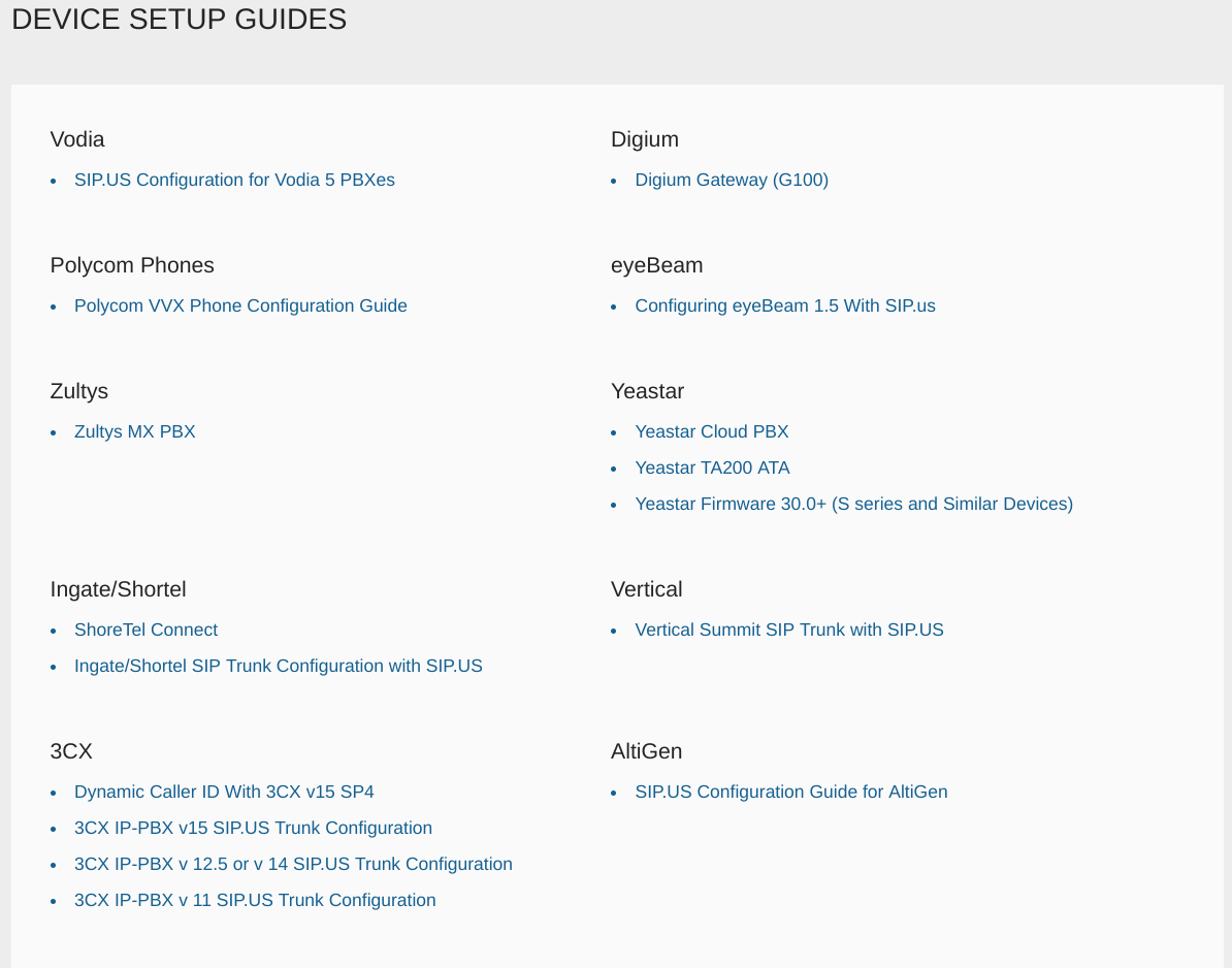 SIP.US Software - Setup guides