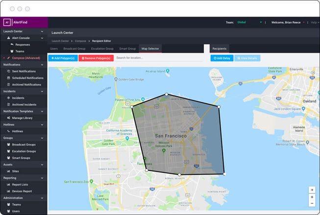 AlertFind Software - AlertFind map selection