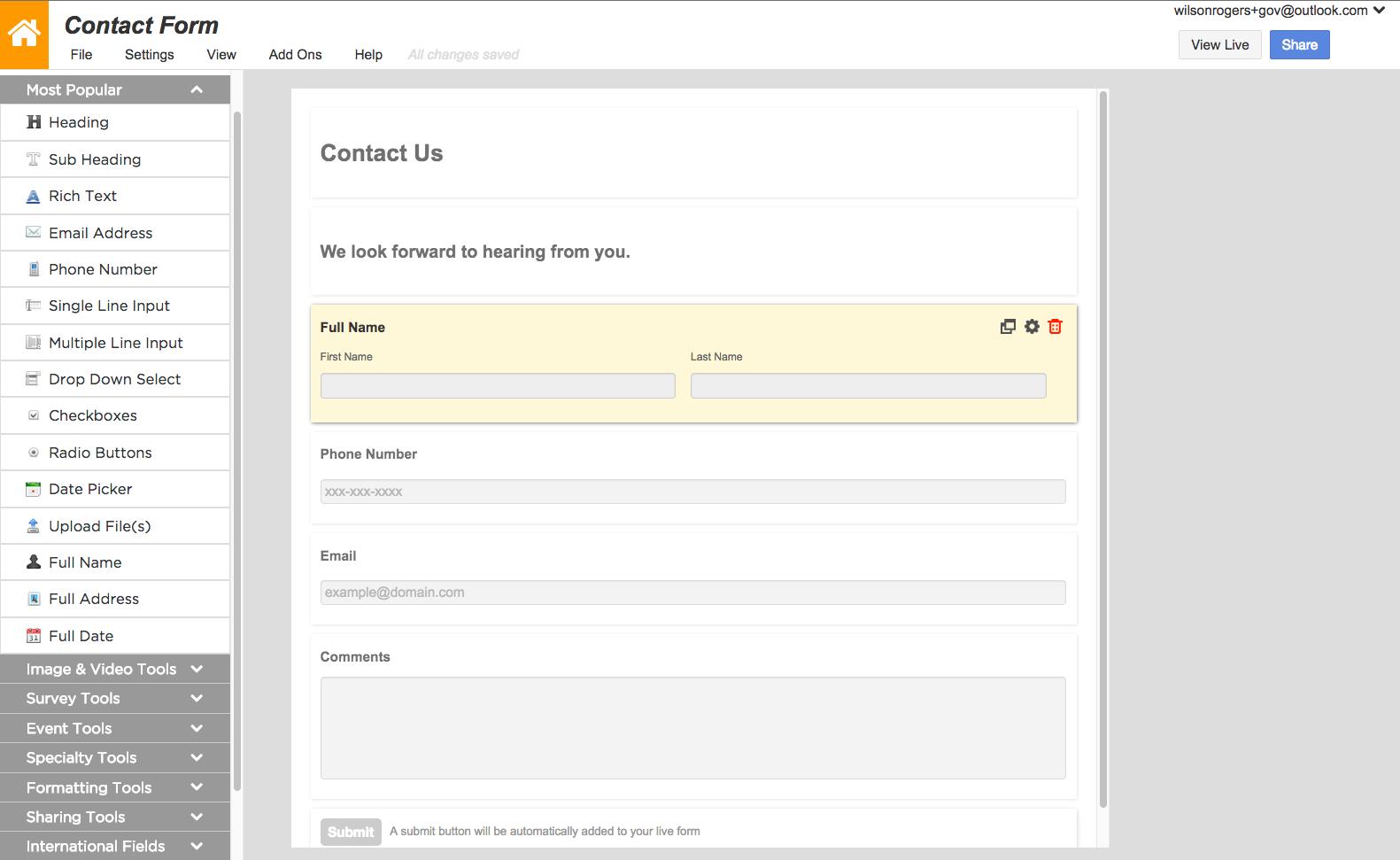 Create web forms, surveys, and questionnaires
