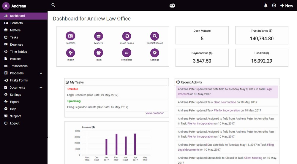 LawGro Software - LawGro dashboard %>