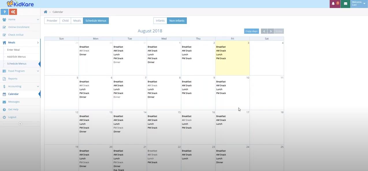 KidKare Software - Kidkare meal scheduling