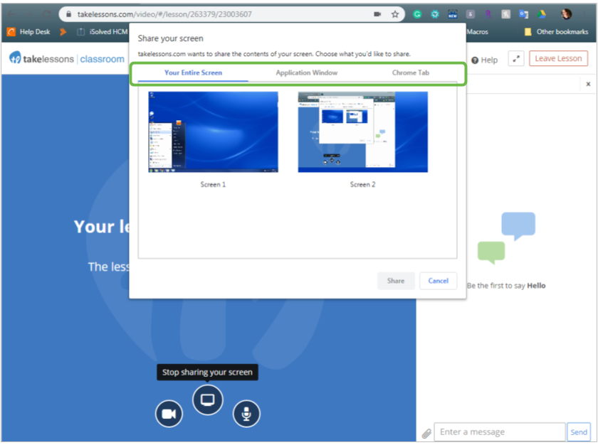 TakeLessons screen sharing