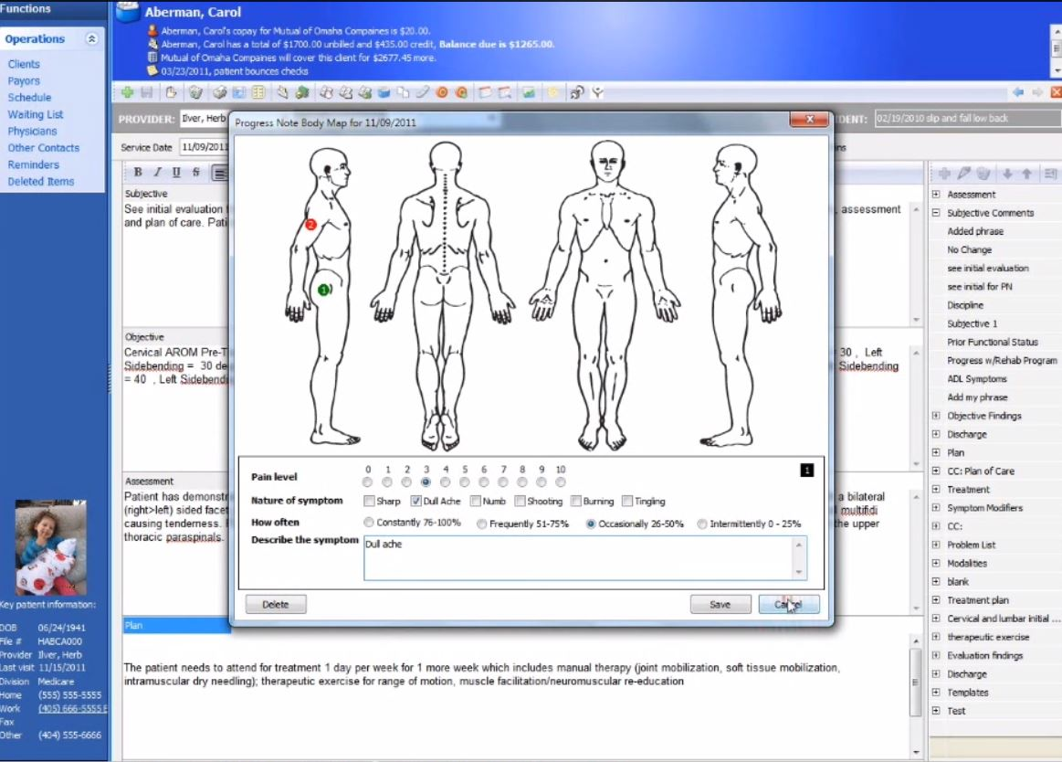 Practice Perfect EMR Software - Body map