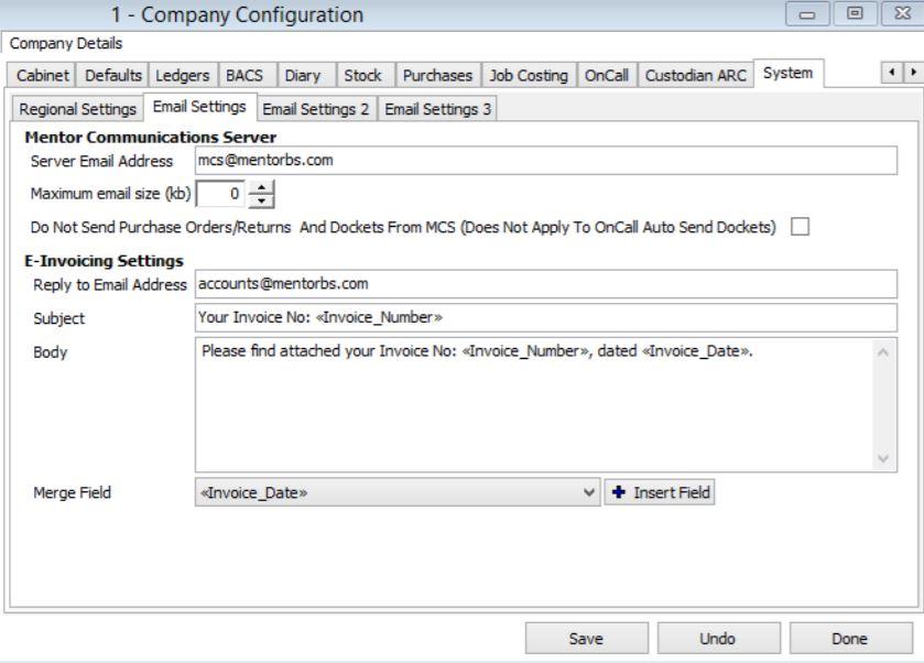 CASH company configuration