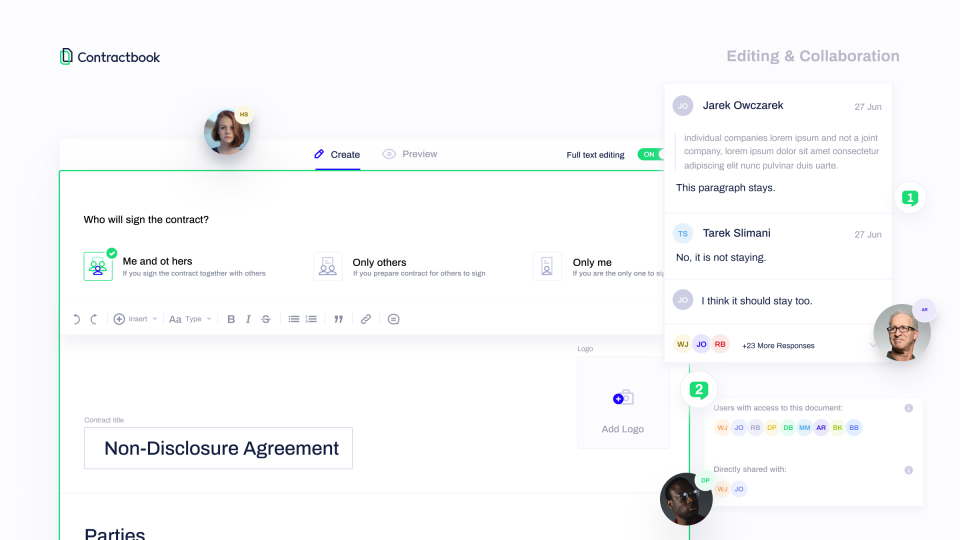 Contractbook Software - Editing & Collaboration