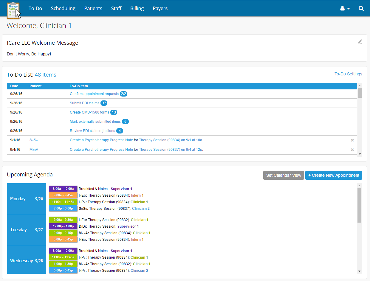 TherapyNotes screenshot: TherapyNotes offers automatic to-do-lists to help streamline workflows, track patient appointments, psychotherapist schedules, clinical notes, billing and more so nothing is missed.
