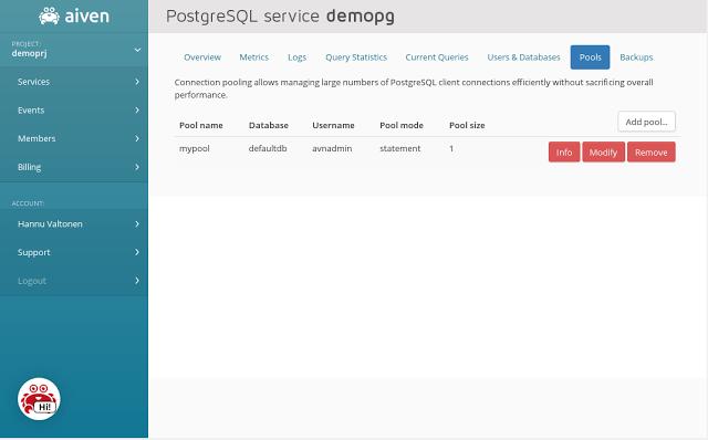 Aiven PostgreSQL connection pooling