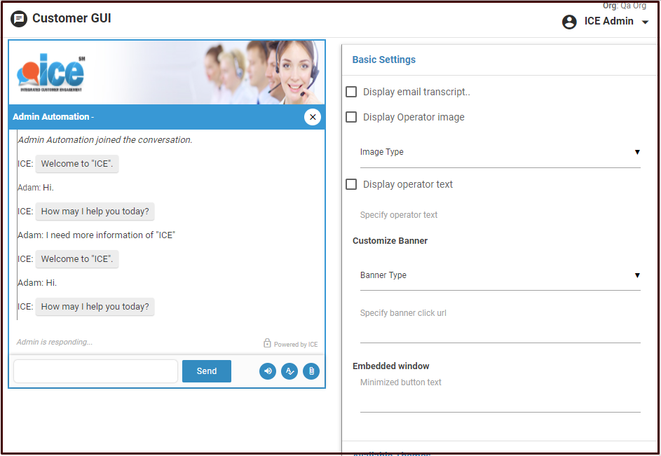 ICE Click-to-Chat Software - Customer chat window customization