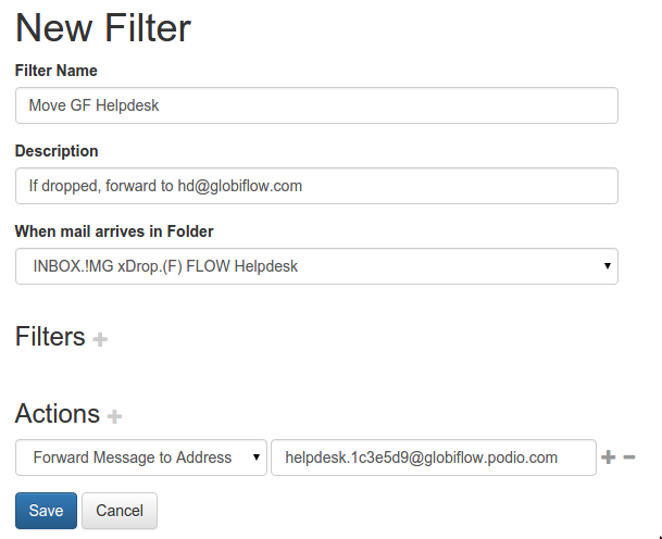 Filter to forward email when moved to a folder