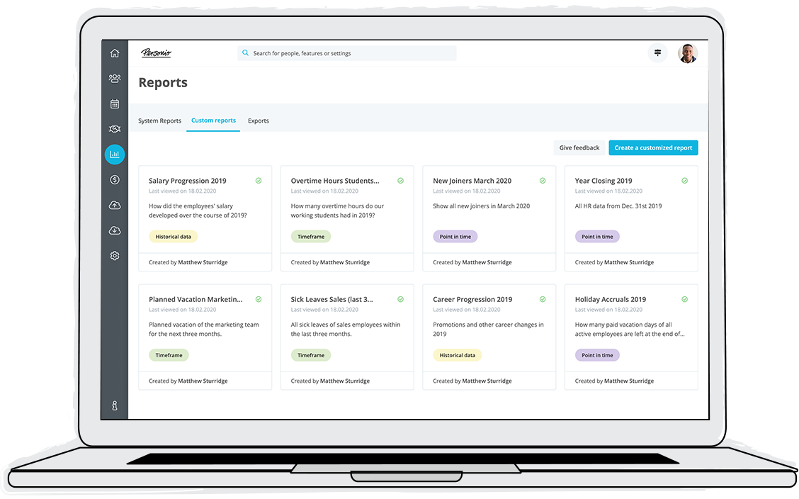 Custom reports facilitate fast and reliable HR insights – for any point in time and any time frame.