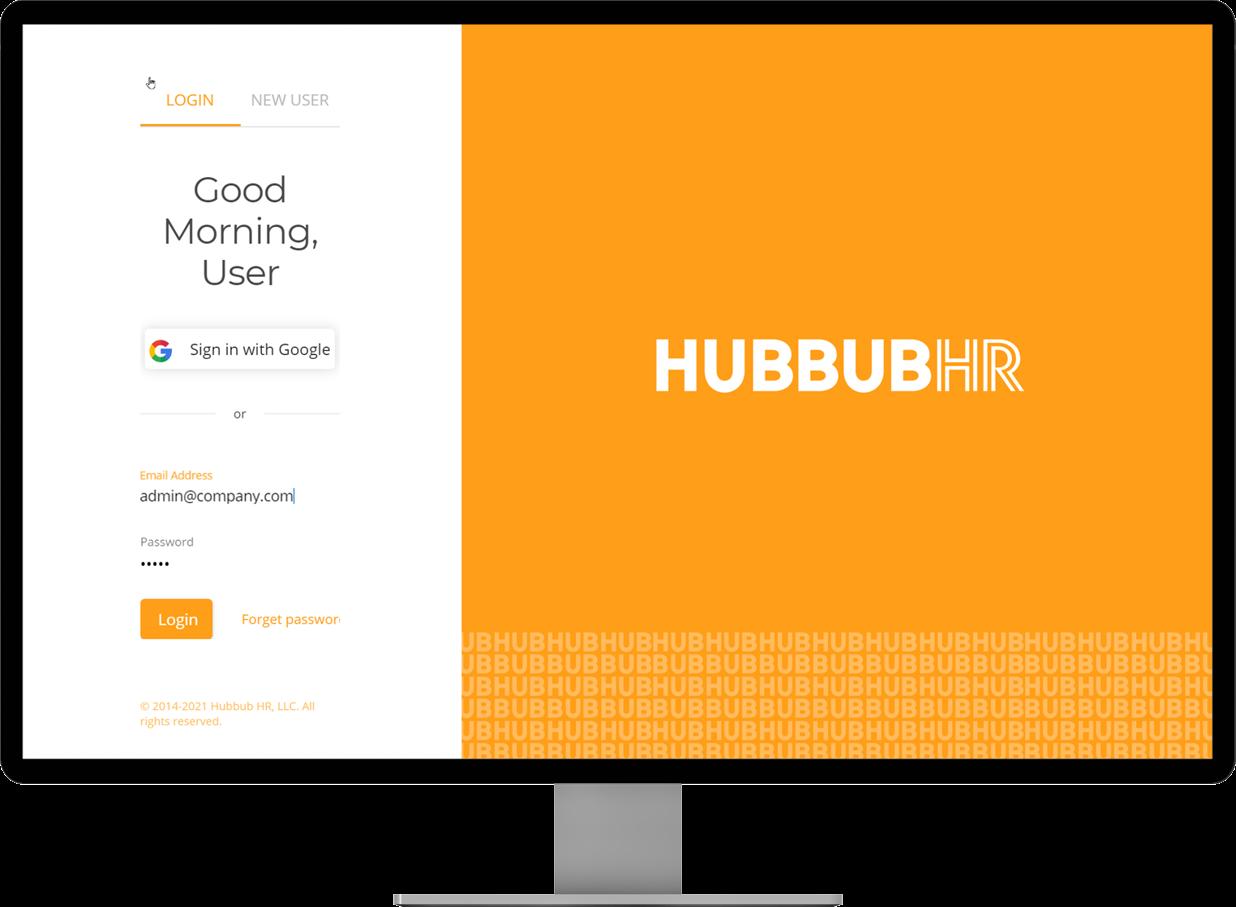 HubbubHR Software - User log in