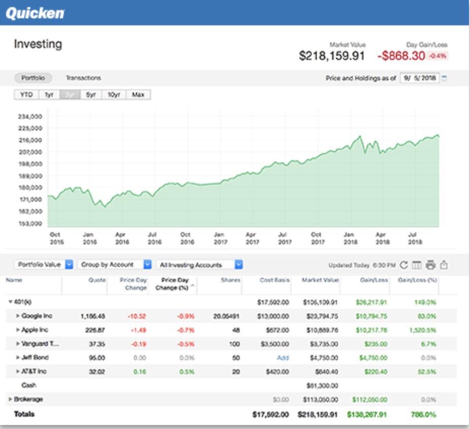 Quicken Software - Quicken investment management