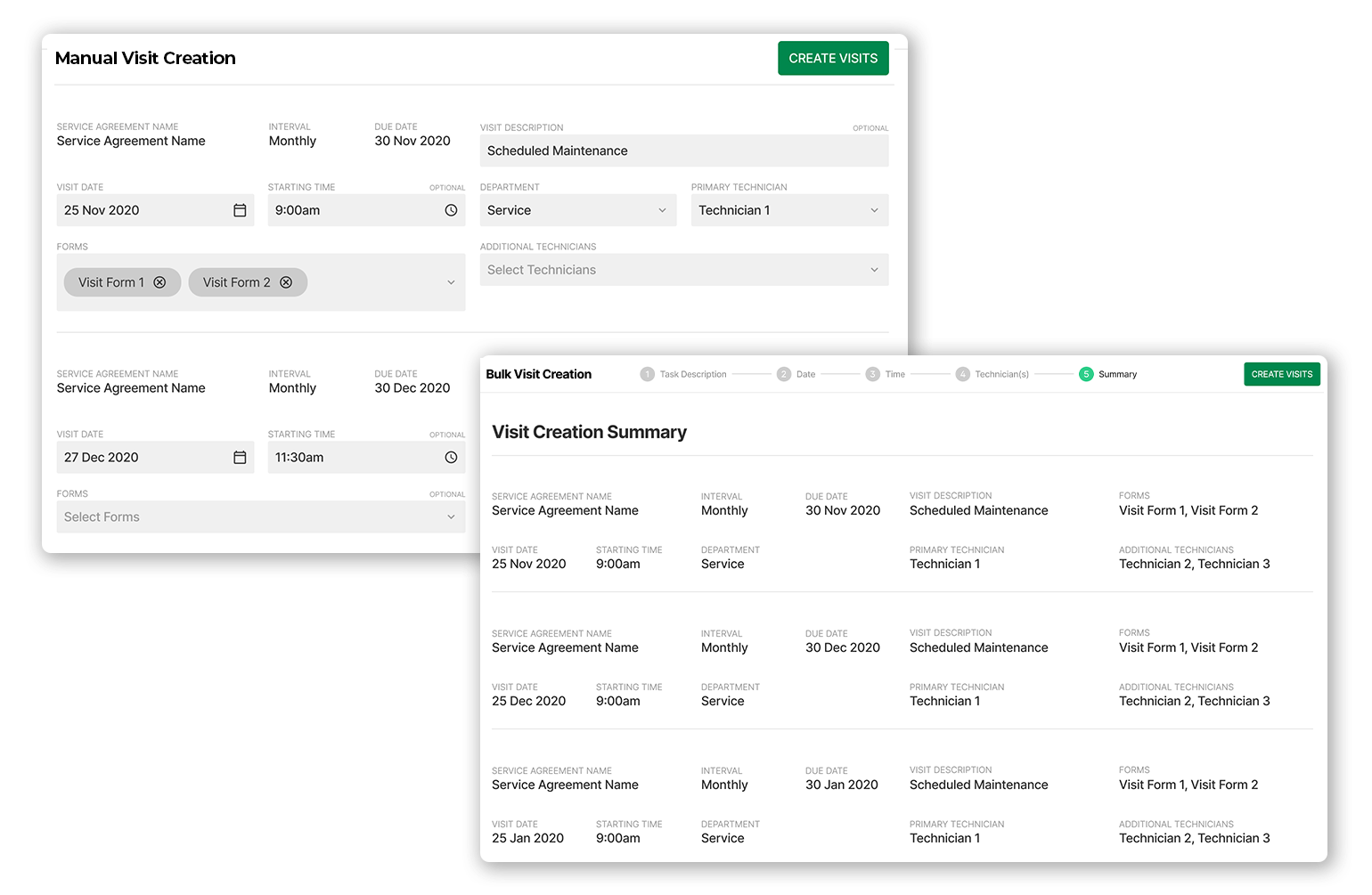 BuildOps Lightning-Speed Scheduling: At a glance, you can see when all visits are due, ensure they're scheduled to be done on time, and even bulk schedule in one click. No more letting service agreements fall through the cracks.
