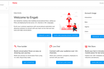 Engati screenshot: Get started by creating a bot, building conversational flows, setting up FAQs and deploying the bot across 14+ channels in 50+ languages.