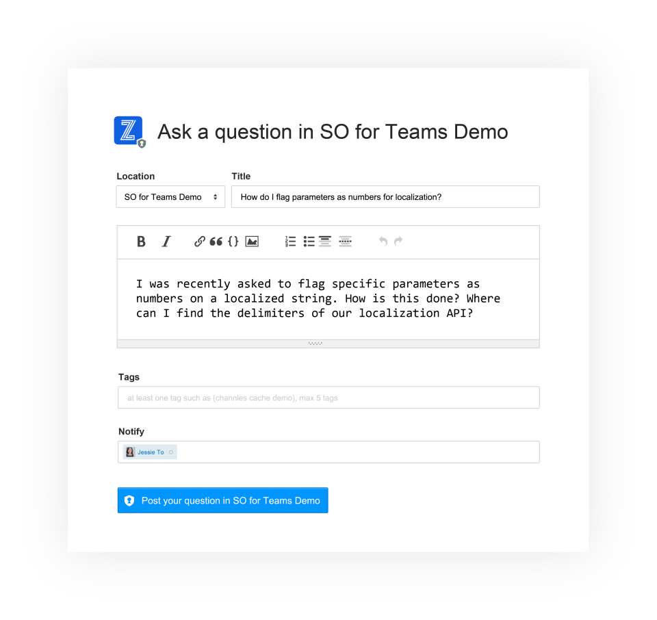 Stack Overflow for Teams screenshot: Stack Overflow for Teams ask questions