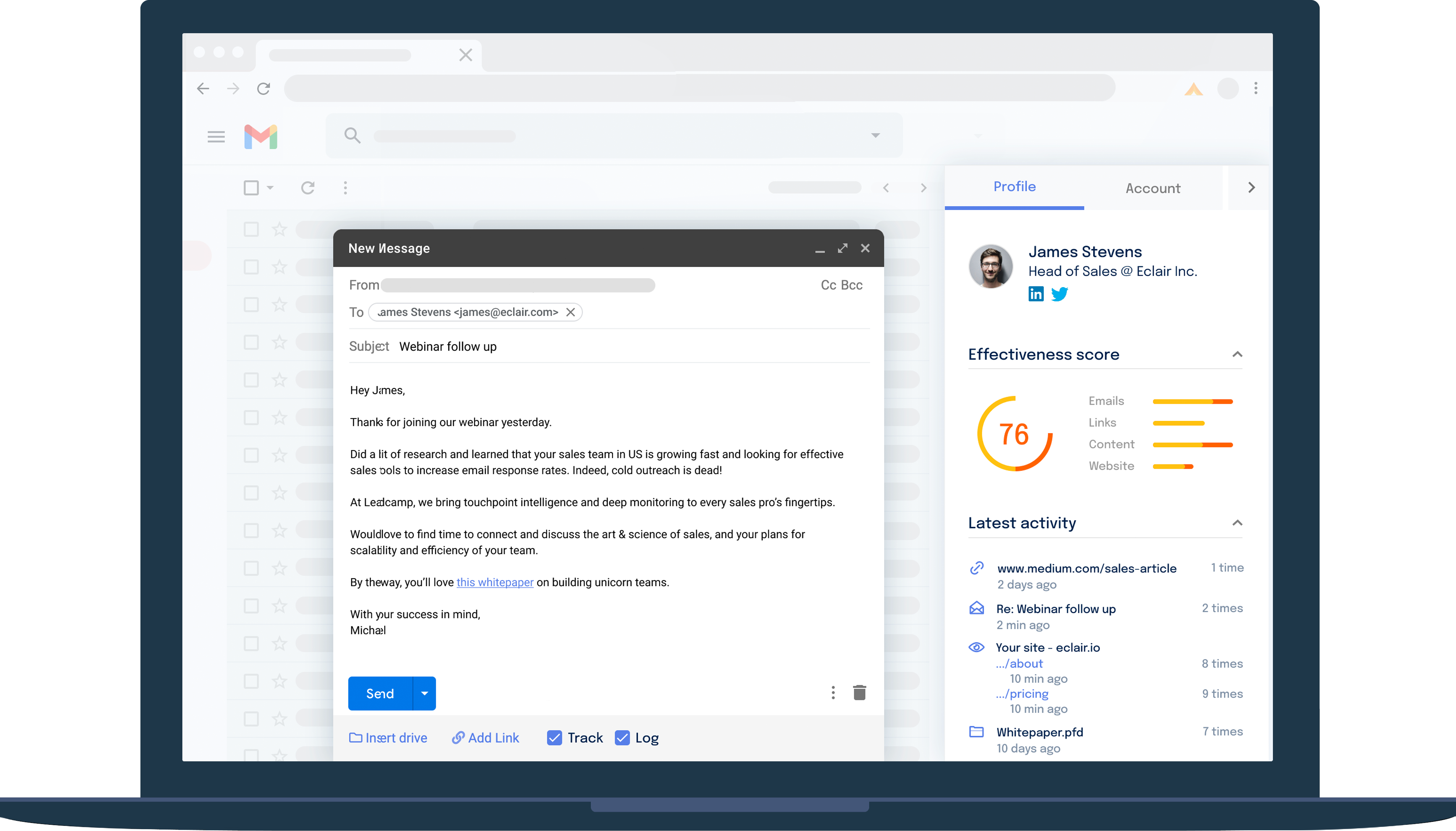 Leadcamp's Lead Engagement Platform captures all sales interaction data - from emails and meetings to website and content distribution - then uses AI to understand and score the engagement. The result? Crushing your quotas, quarter after quarter.