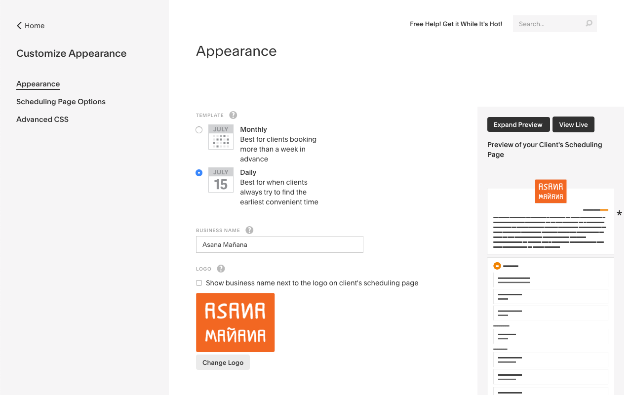 Customize your client scheduling page to match your brand's look and feel