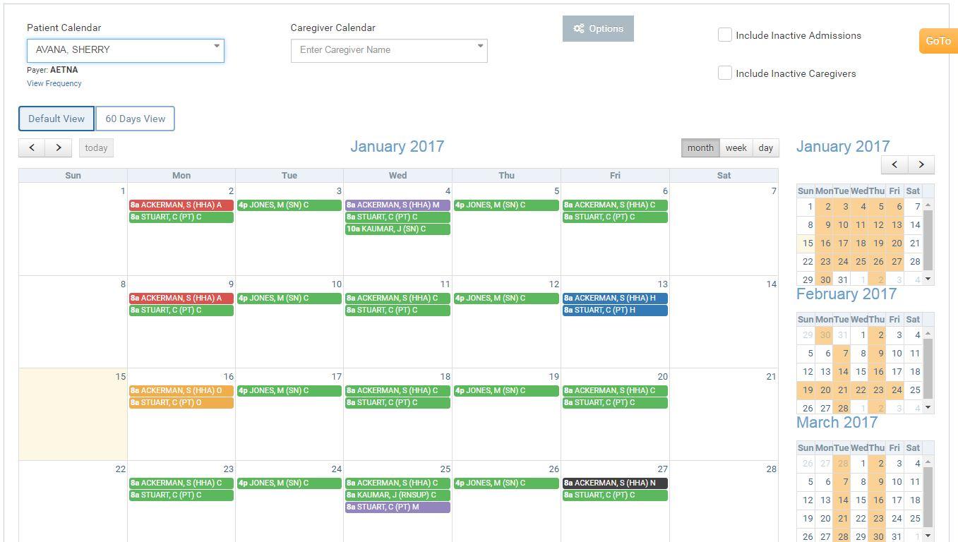 Alora patient calendar