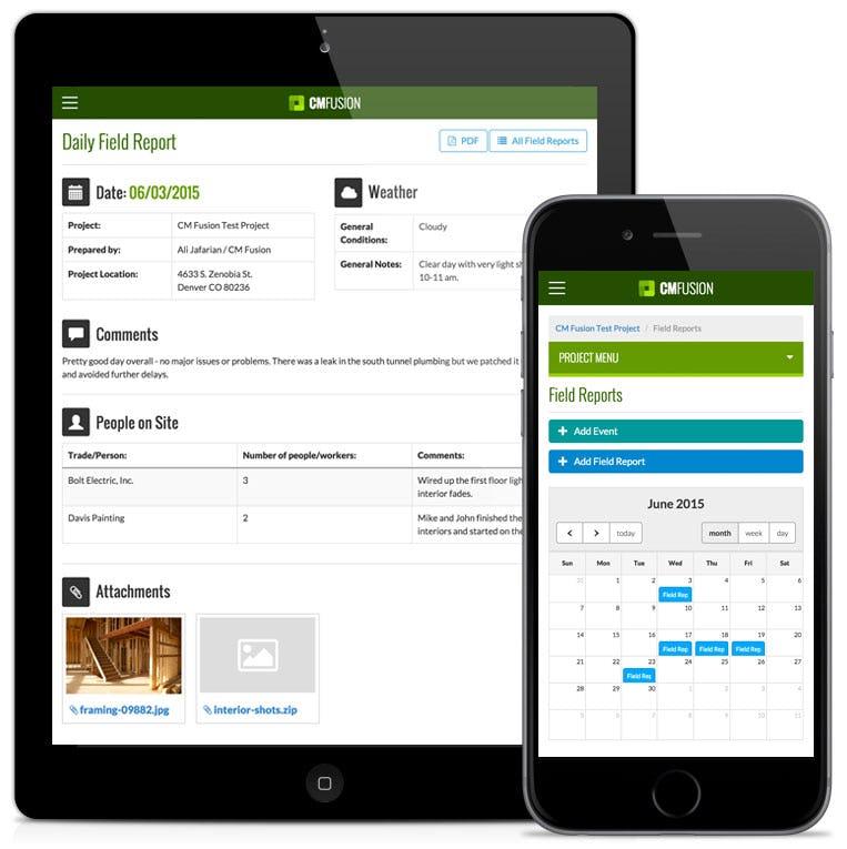CM Fusion Software - Mobile field reports