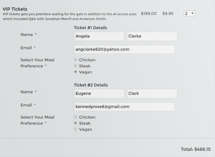 The custom fields are filled in at the same time as personal and delivery information when a ticket is bought through TicketSpice