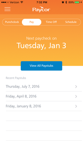 Paystubs can also be viewed on employees' devices