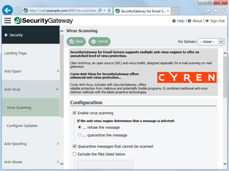 Security Gateway by MDaemon virus scanning