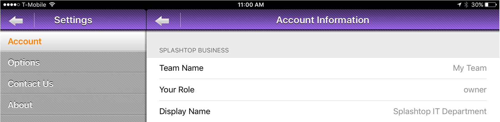 Managers can view the account settings and check the access granted team members