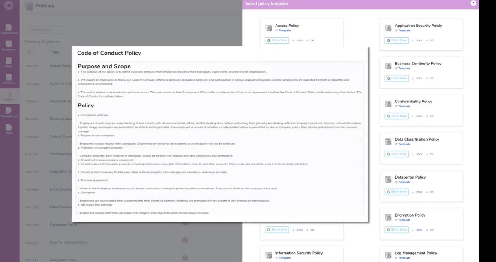 ControlMap policies