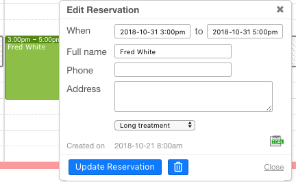 Reservations in one click