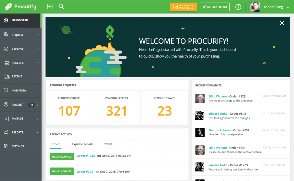Procurify Software - Dashboard