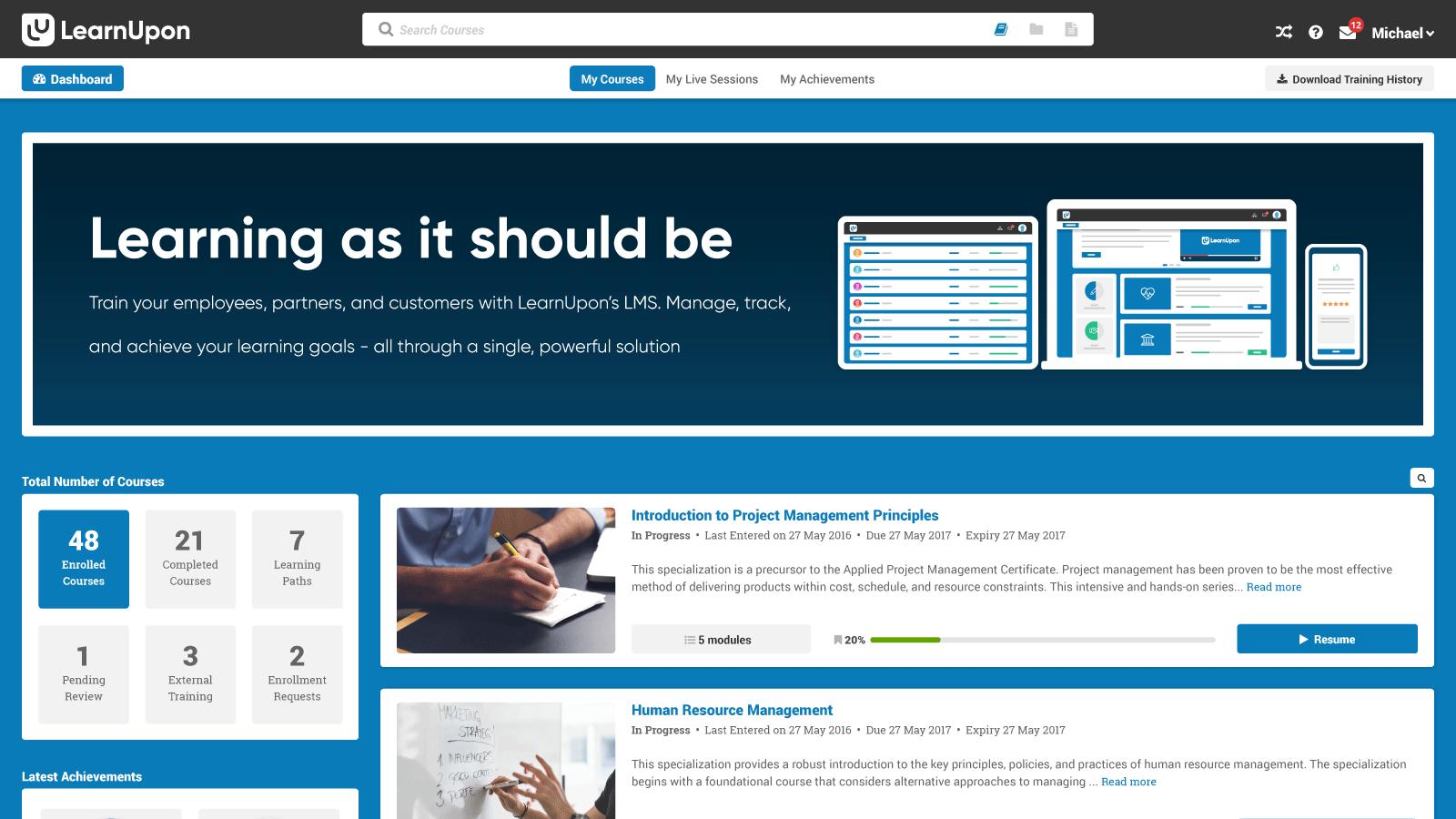 LearnUpon Software - LearnUpon dashboard banner