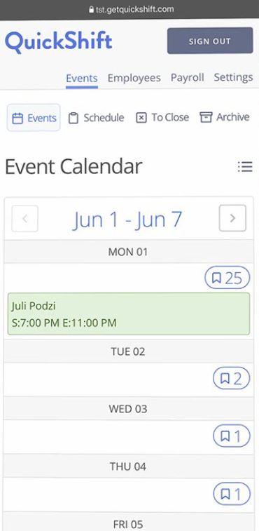 QuickShift event calendar