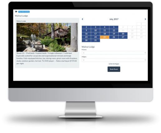 Fully configurable lodging features include the taking of online bookings around flexible, calendar-based pricing options, alongside upselling tools and housekeeping reports