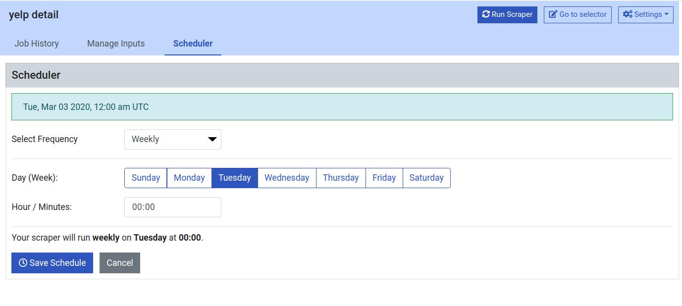ProWebScrapper scheduler