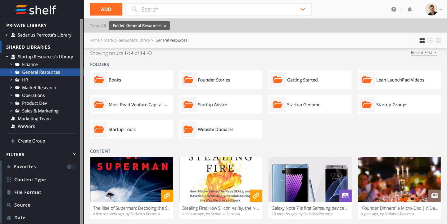 Shelf screenshot: Create folders and sort content with tags, filters, and badges