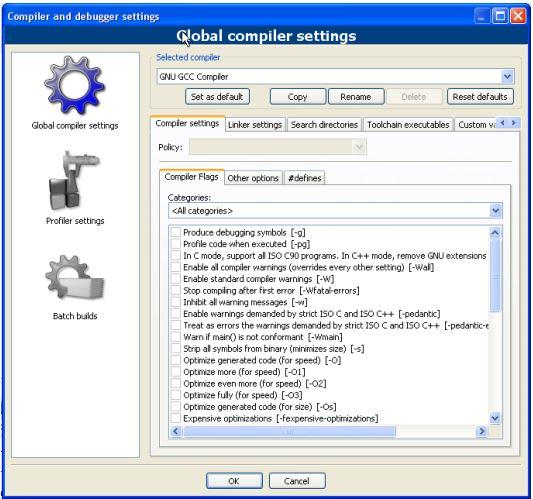 Code::Blocks compiler and debugger settings