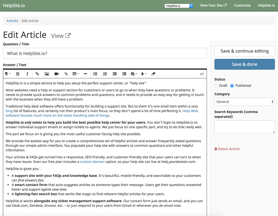 HelpSite add articles