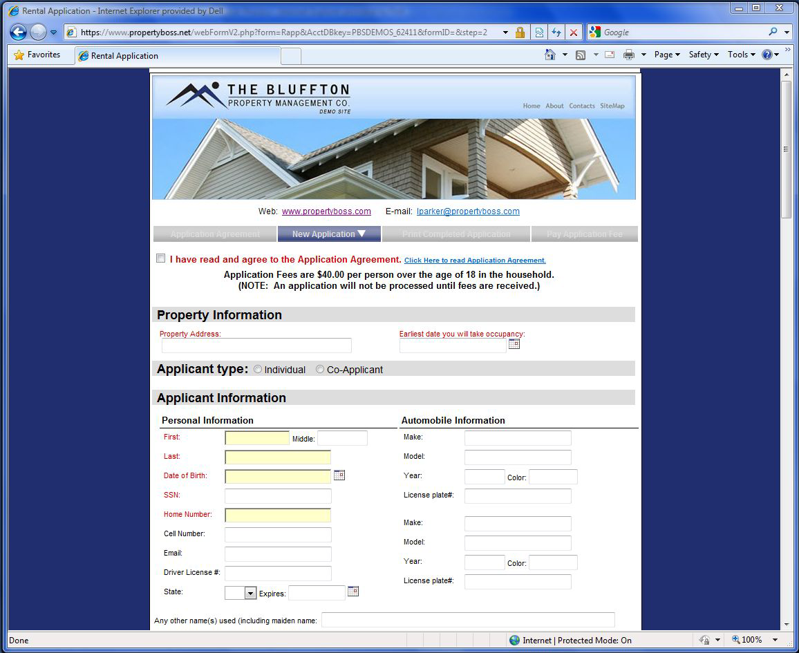 PropertyBoss Software - Electronic applications