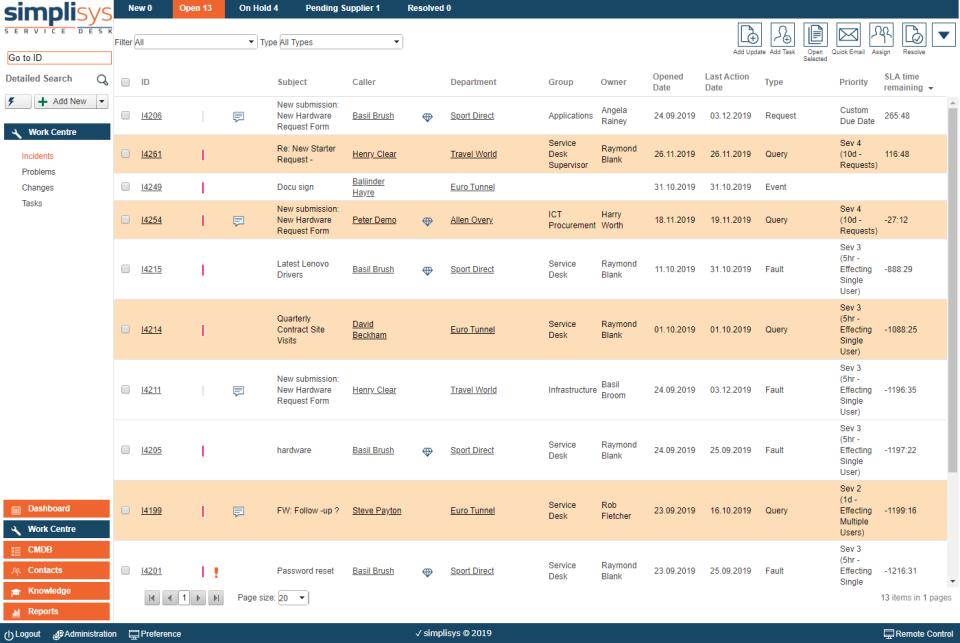 Simplisys Service Desk Software - List View