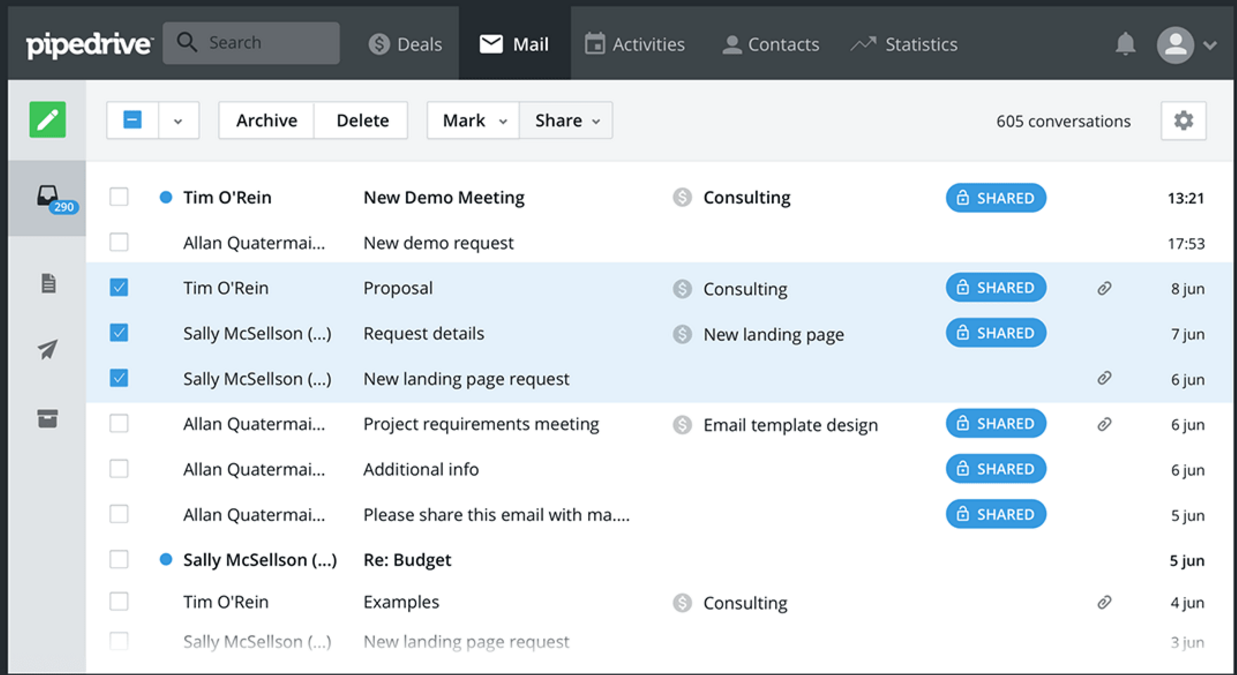 Pipedrive manage email communications