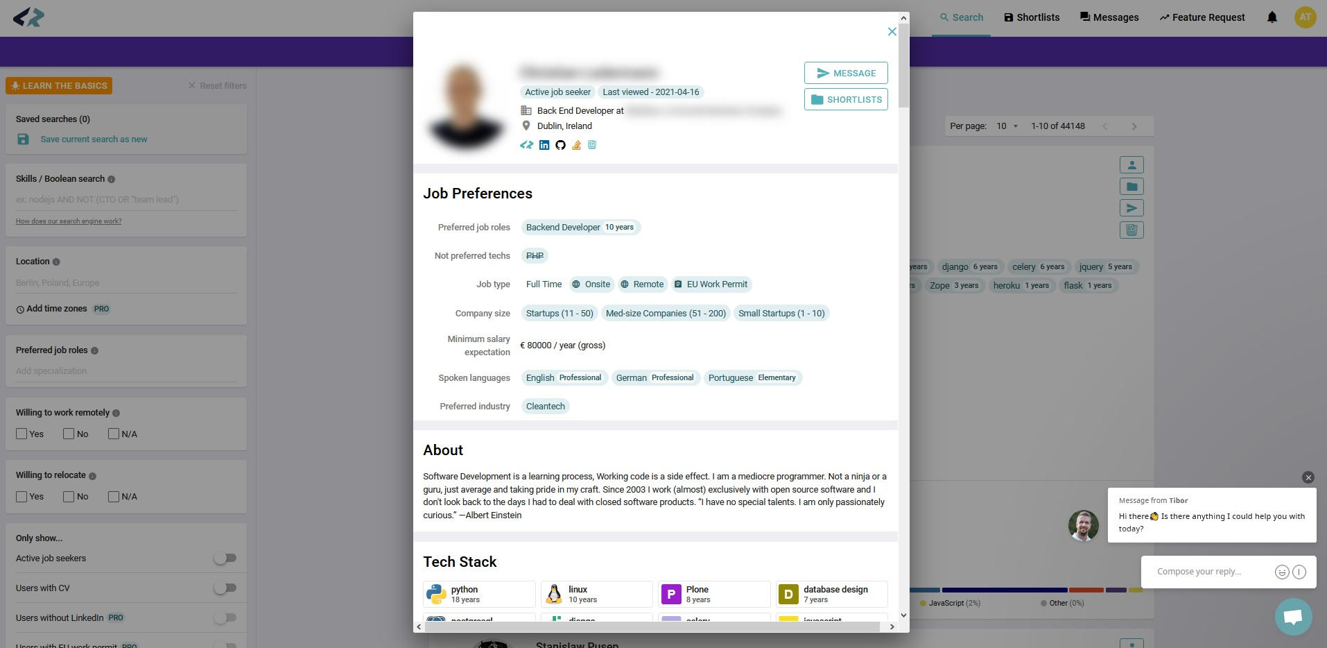CodersRank candidate profile