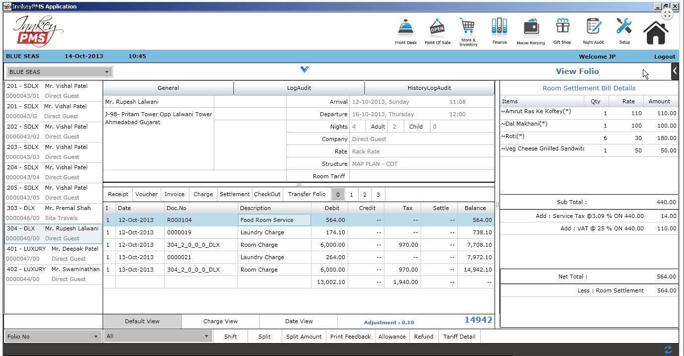Innkey PMS Software - Guest information folio