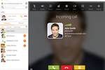 Zoiper screenshot: With contact lookup capability, incoming calls are identified by known contact name, username, email and photo