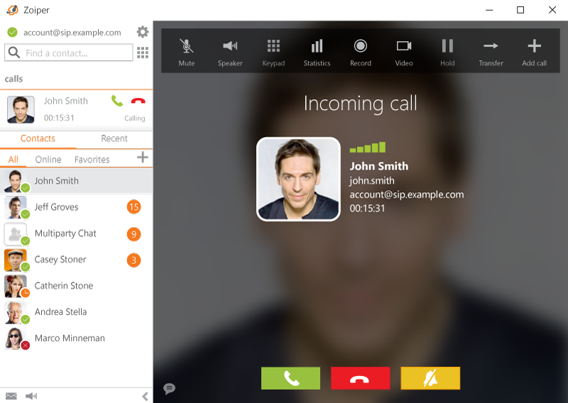 With contact lookup capability, incoming calls are identified by known contact name, username, email and photo