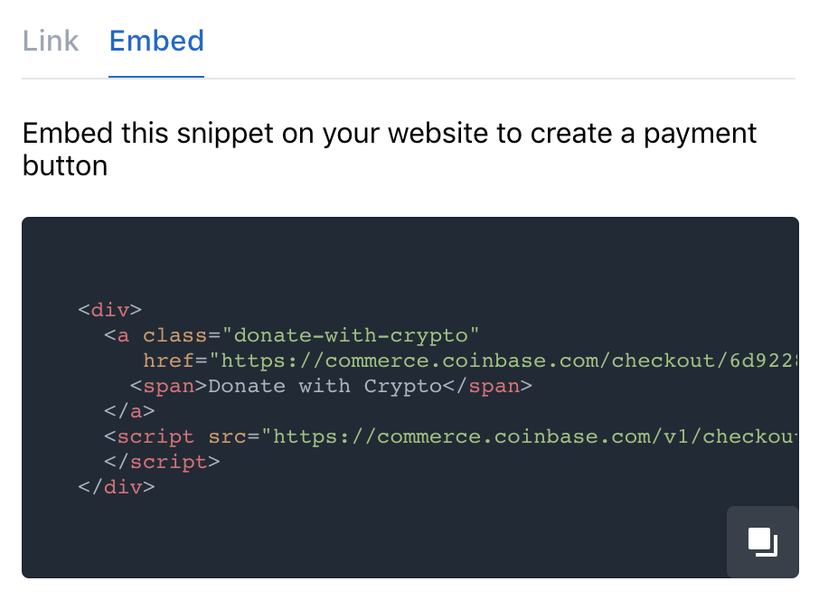 Coinbase Commerce website embed
