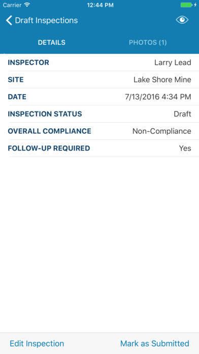 Inspections are defined by a series of key details, with the ability to edit an inspection and mark as submitted from within the app