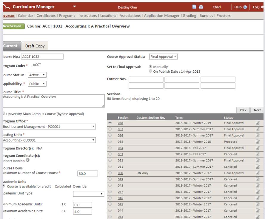 Destiny One curriculum manager screenshot